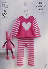 KNITTING PATTERN Baby Striped Heart Jumper & Striped Leggings DK King Cole 3801