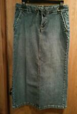 Old Navy sz 6 denim blue long straight jean skirt, stretch cotton