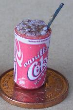 1:12 Copa En Vidrio Plástico + Hielo paja coque Vainilla Etiqueta Casa de muñecas en miniatura