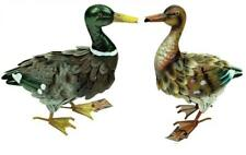east2eden Set of 2 Small Realistic Mallard Duck Metal Outdoor Garden Ornament