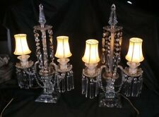 PAIR OF CRYSTAL LIGHTS 2 ARMS LUSTERS GIRANDOLE SQUARE BASE