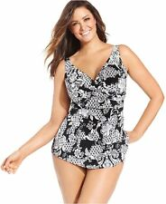 a53d634a61d Swim Solutions Plus Size Black White Printed Sarong Swimsuit 22w