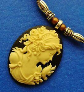 Cameo Necklace:- Woman's Head Jewelry Antique Art Nouveau Style Pendant