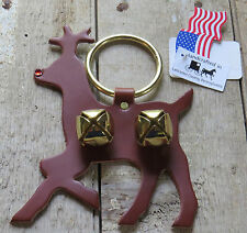 Rudolph Reindeer Sleigh Bell Door Chime Deer Holiday Handmade Brass Leather