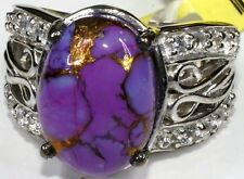 Mojave Purple Turquoise, White Topaz Ring (Size 6) Sterling Silver TGW 7.41 Cts