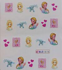 """Nail Art """"FROZEN* Elsa Heart Ice Monster Pink Girls Water Decal Sticker NEW 1978"""
