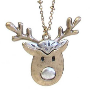 Reindeer Two Tone Pendant Necklace Gold NEW