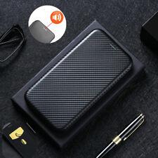 For LG K22 Flip Carbon Fiber Stand Leather Wallet Case Cover