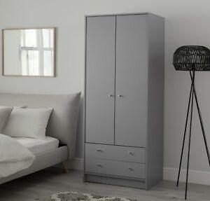 Home Malibu 2 Door 2 Drawer Wardrobe - Grey