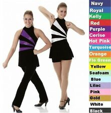 In Motion Dance Costume BURGUNDY Tunic Top with Undies Color Guard Tap Uniform