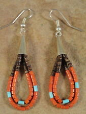 Frank Ortiz Kewa Turquoise & Coral Jaclas Bead Earrings