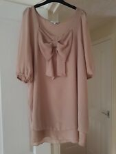New Look Beige Top, Short Sleeves, Hip Length, Size 12, VGC