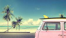 SPLENDIDA Stile Vintage Surf Palme #772 foto su tela Wall Art A1