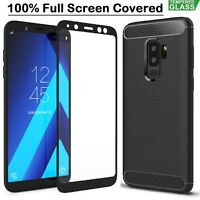 Samsung A8 Case Armor Cover + Tempered Glass Film For Samsung Galaxy A8 2018