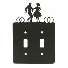 Square dance black double light switch plate cover
