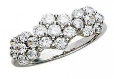 1.2 ct F SI1 round ideal cut diamond flower cluster ring 14k white gold size 5
