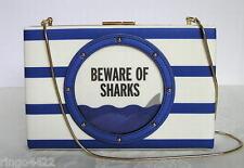 Kate Spade Make a Splash Beware of Sharks Emanuelle Porthole Handbag Clutch NWT