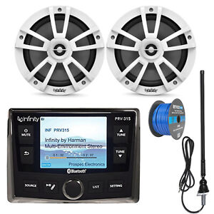 "Infinity PRV-315 Bluetooth USB Marine Receiver, 6.5"" Speaker Set, Antenna"