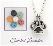 Dog or Cat Paw Aromatherapy Essential Oil Necklace Diffuser with 6 lava stones!