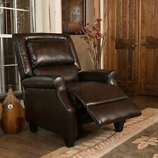 Contemporary Brown Bonded Leather Recliner Club Chair
