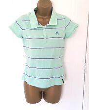 Adidas mujer color verde pálido y Azul Rayas Polo camiseta, tamaño 12