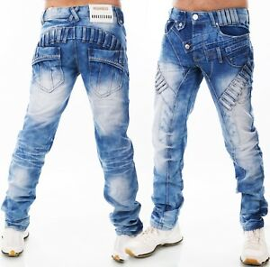 HIGHNESS Homme Pantalon Jeans Ample Coupe Droite ´S Wear Patchs Mega Lavage