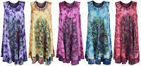 Womens Ladies Plus Size Sleeveless Tie-dye Beach Summer Sundress Peacock 12-26