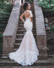 Blush Pink Bridal Gowns Wedding Dresses Mermaid Backless Plus Petites Size Girls