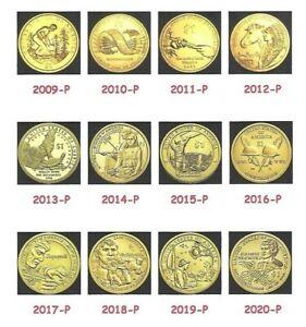 2009-2020-P Sacagawea Native American Dollar Set - 12 Uncirculated Coins