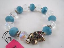 Betsey Johnson blue bead~gold tone elephant stretch bracelet, NWT