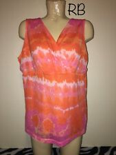 "Chaps Pink Orange Tie Die Sleeveless Tank Top Shirt Plus Size 2x 25"" Chest"