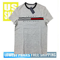 Tommy Men's NWT 100% Cotton Stripe Chest COR GREY T-Shirt L Free Shipping