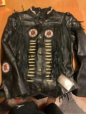 J4 West Black Leather Fringe Beaded Ruby Jacket Small