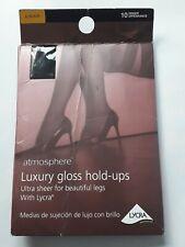 Atmosphere ultra sheer 10 denier gloss nylon black hold ups/stockings. Sz Large