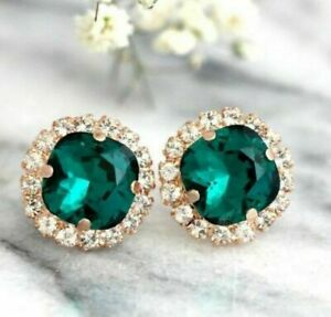 5Ct Cushion Cut Green Emerald Diamond Halo Stud Earrings 14K Yellow Gold Finish