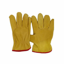 Yellow Lined Leather Drivers Work Gloves Gardeners Safety Hand-Protection Supply