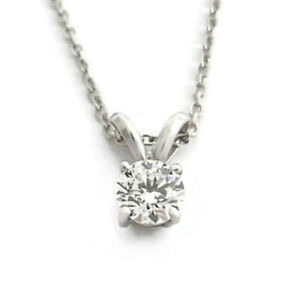 Round Solitaire Diamond Pendant Necklace 14K White Gold, .40 CT, 16 Inches