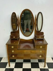 Antique Edwardian inlaid mahogany dressing table with treble mirrors - Delivery