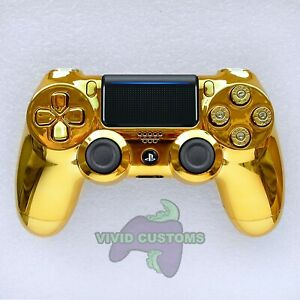 Custom PS4 Controller Gold Chrome Bullet Mod PlayStation 4 Dualshock V2 Gamepad