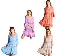 JODIFL Womens Crochet Lace Boho 3/4 Bell Sleeve Bohemian Casual Dress  S M L