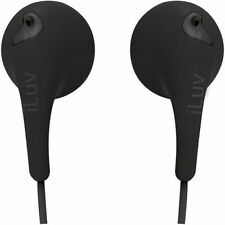 iLUV Bubble Gum Stereo Earbuds Black Lightweight and Comfortable from US Seller