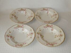 Syracuse China STANSBURY Federal Shape Rimmed Soup Bowls ~ Set of 4