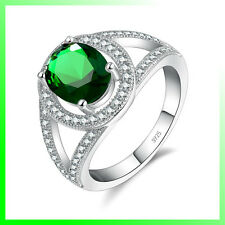 GORGEOUS STERLING SILVER RING with BIG OVAL GREEN and 64 SMALL CLEAR ZIRCONS