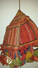 VINTAGE Indiano Borsa A Mano Cotone Ricamato con 4 tasche esterne con nappe