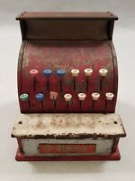 Vintage St Michael's Tin Cash Register Toy in Red Tin Plate Toy 1950s 1960s