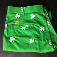 Loudmouth Green Shamrock Flat Front Golf Shorts - Mens Sz 36 Very Good Condition