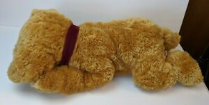 """Russ Berrie Toastin' Large Plush Puppy Dog 26"""" Long Golden Brown Red Ribbon"""