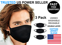 3 Pack Black Face Mask Cotton Jersey Cover Double layer Washable Reusable Unisex