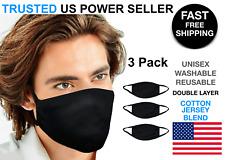 3 Pack Black Face Mask Cotton Jersey Cover Double layer Washable Reusable Unisex