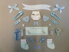BABY BOY CARD MAKING EMBELLISHMENTS & TOPPERS *24 ITEMS* BABY BOY SCRAPBOOKING